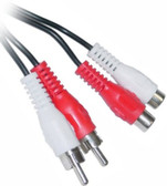 12 feet 2 RCA Male to Female Audio Extension Cable (Red/White Connectors)