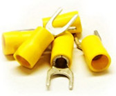 Fork Terminal, Yellow, 12 AWG - 14 AWG, Electrical Wire Connection, 100 Pieces
