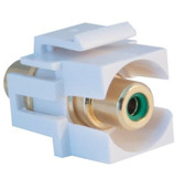 Keystone Insert, Recessed RCA Female Coupler (Green RCA), White