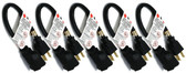 1-Feet 16AWG Outlet Saver Power Extension Cord NEMA 5-15R to NEMA 5-15P, 5-Pack