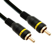 High Quality Composite Video Cable, RCA Male, Gold-plated Connectors, 3 foot