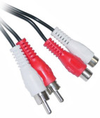 6-Feet 2-RCA Male to 2-RCA Female Patch Cord