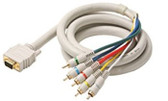 12-Feet VGA-5RCA RGB H/V Component Video Cable, Ivory
