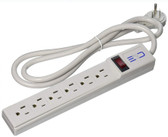 These gray Surge Protectors have 6 horizontal outlets and feature a flat 360 degree rotating plug which will provide more flexibility when selecting a wall outlet. Now you can plug in behind furniture and get around other obstacles with ease. This model has a 15 foot power cord.