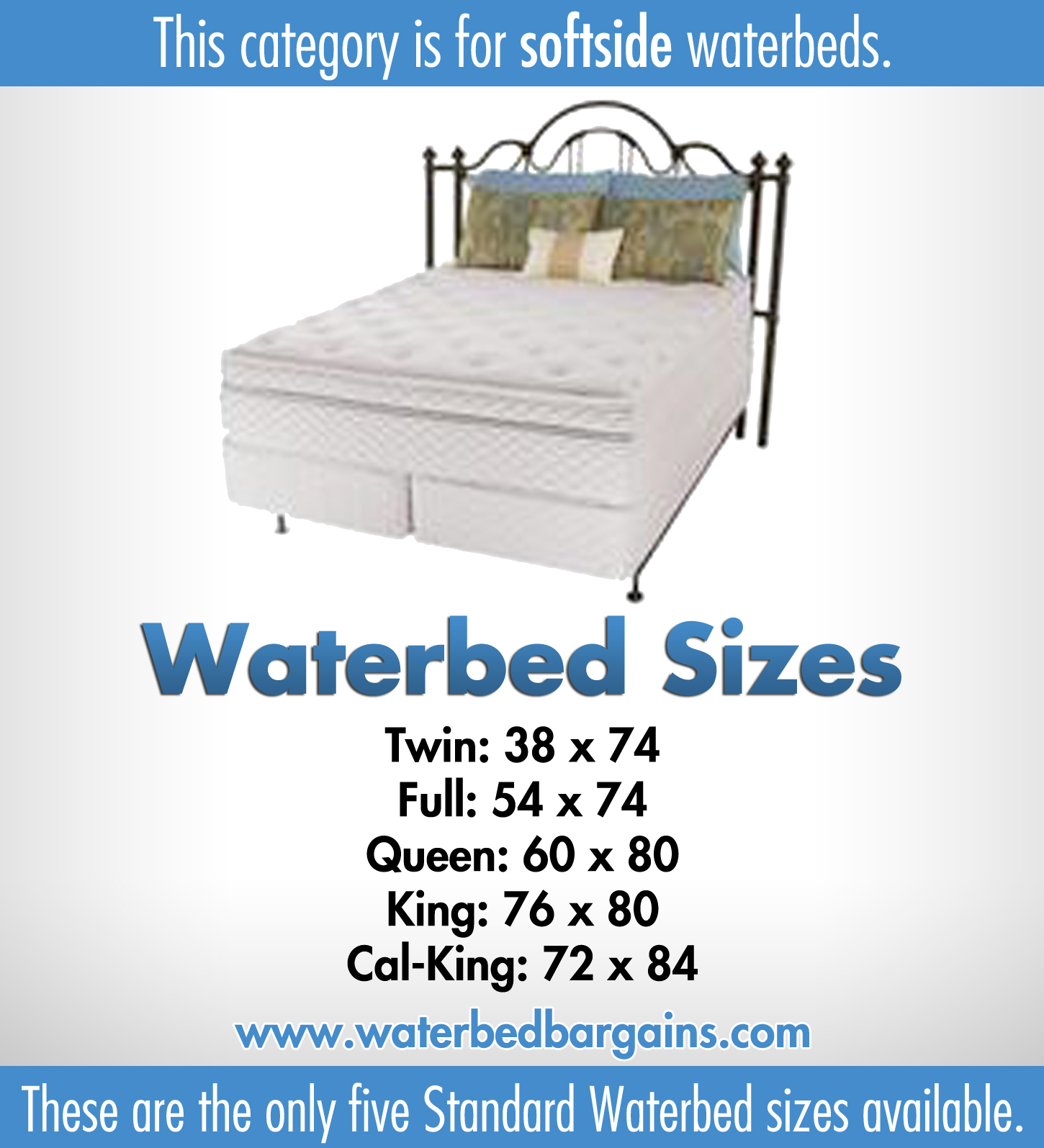 Softside waterbed | Waterbed with memory foam layer | Sizes: Super ...