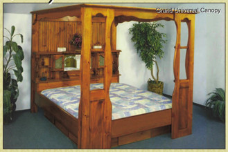 Grand Universal Canopy Bed. Majestic Pine Canopy Bed