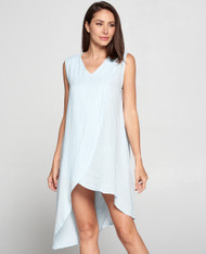 Match Point Linen Sleeveless Crossover Long Tunic