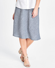 FLAX Short Line Skirt shown in dungaree