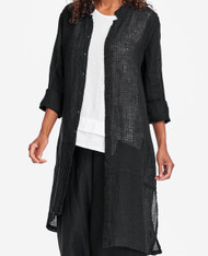FLAX Bold 2019 Abstract Duster shown in black windowpane