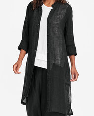 FLAX Abstract Duster shown in black windowpane