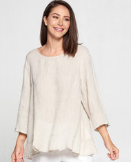 Match Point Linen 3/4 Sleeve Top W/Ruffle