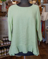 Match Point Linen 3/4 Sleeve Top W/Ruffle nile green