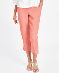 FLAX Pocketed Ankle Pant (coral) lightweight linen