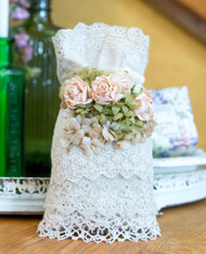 French Lace and Flower Lavender with pink flowers