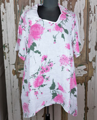 Transparente Clothing Pink Floral Blouse with Collar