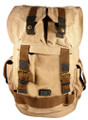 "Amik ""Canoga Park"" Italian Vintage Canvas  & Leather Rucksack - Khaki Tan"