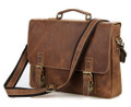"""Hillcrest"" Men's Full Grain Distressed Leather Messenger Bag - Medium Brown"