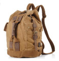 "Men's ""Colonial"" Italian Style Convertable Backpack with Leather Straps - Khaki Tan"