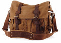 "Xtra Large 17"" Men's ""Colonial"" Style Messenger Bag with Leather Straps - Khaki Tan"
