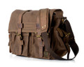 "Xtra Large 17"" Men's ""Colonial"" Italian Style Messenger Bag with Leather Straps - Coffee Brown"