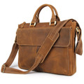 """Melbourne 2"" Men's Full Grain Distressed Cowboy Leather Messenger Bag - Tan"