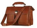 """Galveston 2"" Men's Full Grain Leather Laptop & Lockable Travel Bag - Rust Brown"