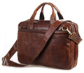 """Bangalore 2"" Men's Top Grain Vintage Leather Briefcase & Messenger Bag - Brown"