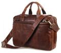 """""""Bangalore 2"""" Men's Top Grain Vintage Leather Briefcase & Messenger Bag - Brown"""