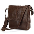 """Leucadia"" Men's Vintage Leather Urban Vertical Messenger Bag with Accents"