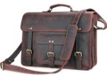 """Big Sur"" Men's Full Grain Distressed Leather Laptop Briefcase  & Travel Bag"