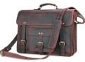 """Big Sur"" Men's Full Grain Distressed Leather Laptop Briefcase  & Travel Bag"