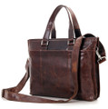 """Burlington 3"" Men's Smooth Vintage Leather Messenger Tote Bag  - Dark Brown"