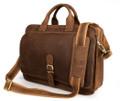 """Minsk 3"" Men's Full Grain Leather Shoulder Briefcase Attache - Tan"