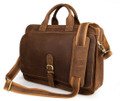 """Minsk 3"" Men's Full Grain Leather Shoulder Briefcase Attache - Tan"