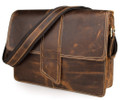 """Casper"" Men's Full Grain Distressed Leather Messenger & Tablet Bag  - Brown"