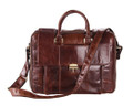 """Hampton's"" Men's Large Soft Leather Overnight Tote Bag - Dark Brown"