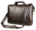 """Hilton"" Classic Vintage Smooth Leather Portfolio Messenger Bag - Coffee Brown"