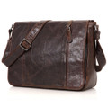 """San Jose"" Men's Vintage Leather Compact Messenger & Tablet Bag - Coffee Brown"
