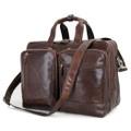 """Wakefield"" Men's Expandable Vintage Leather Overnight Laptop Bag - Dark Brown"