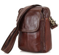 """Capolinea"" Convertible Leather Shoulder Bag & Chest Sling - Brown"