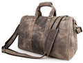 """Lyon 3"" Full Grain Thick Leather Duffel Carryall Bag - Distressed Tan"