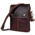 """Mazatlan"" Men's Vintage Leather Urban Vertical Messenger Bag - Brown"