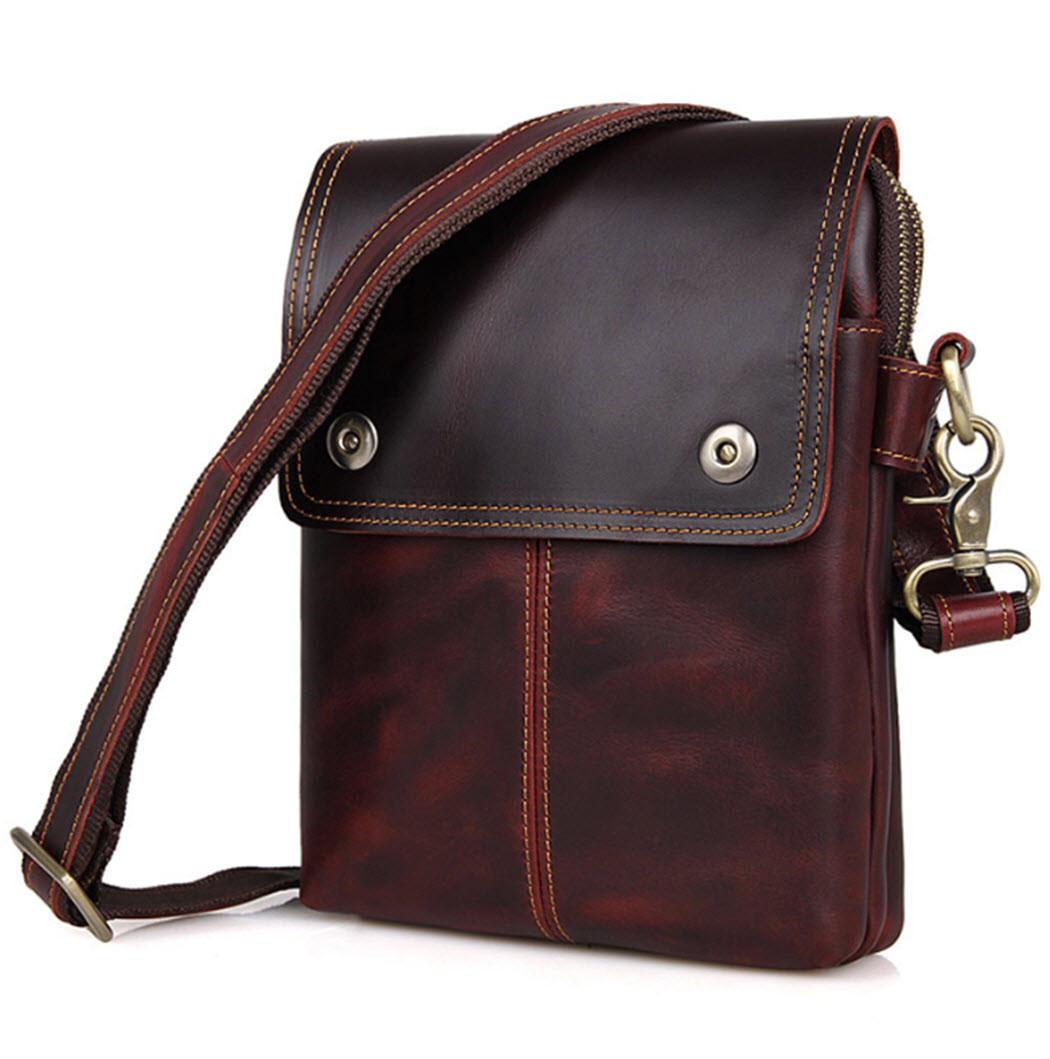 b5db95c0b8e7 ... Men s Vintage Leather Urban Vertical Messenger Bag - Brown. Image 1.  Loading zoom