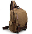 """Hana Bay"" Men's Canvas Retro-style Single-shoulder Crossbody Backpack - Khaki Brown"