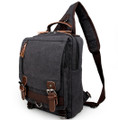 """Hana Bay"" Men's Canvas Retro-style Single-shoulder Crossbody Backpack - Gray"