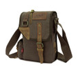 """Morro Bay 2"" Vintage Canvas and Leather Shoulder Satchel - Khaki Green"