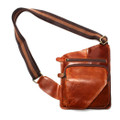 """Havana"" Men's Soft Leather Single Shoulder Chest Bag Sling - Rust Brown"