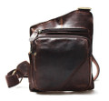 """Havana"" Men's Soft Leather Single Shoulder Chest Bag Sling - Coffee Brown"