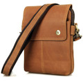 """Mazatlan 3"" Men's Vintage Leather Urban Vertical Messenger Bag - Tan"