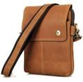 """Mazatlan 3"" Men's Vintage Leather Urban Vertical Messenger Bag - Tan"